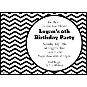 Black/White Chevron Personalized Invitation (Each)