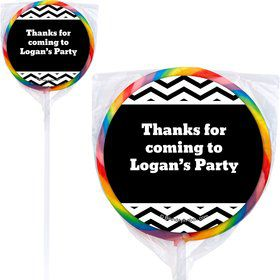 Black/White Chevron Personalized Lollipops (12 Pack)