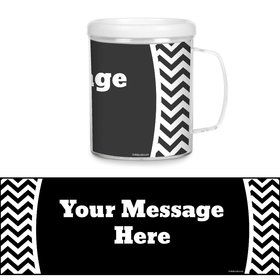 Black & White Chevron Plastic Personalized Favor Mugs (Each)