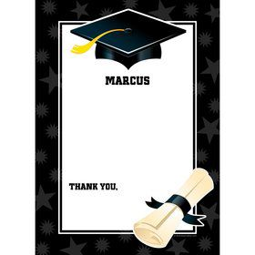 Black & White Graduation Personalized Thank You (Each)