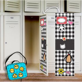 Black White Plaid Locker Decal Emoji Patches