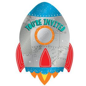 Blast Off Birthday Postcard Invitations (8)