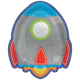 Blast Off Birthday Rocket Shaped Plates (8)