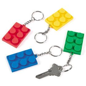 Block Rubber Key Chain (12 Pack)