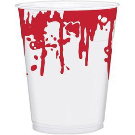 Blood Splatter 16 oz Plastic Cups (25 Pack)