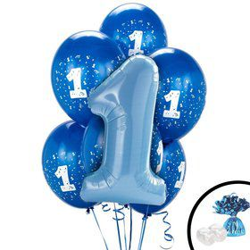 Blue 1st Birthday Balloon Bouquet