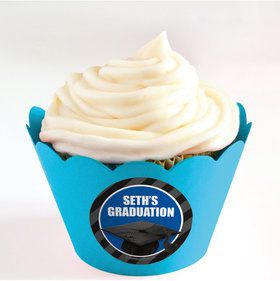 Blue Caps Off Graduation Personalized Cupcake Wrappers (Set of 24)