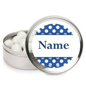Blue Dots Personalized Candy Tins (12 Pack)