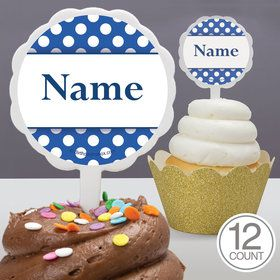 Blue Dots Personalized Cupcake Picks (12 Count)