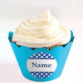 Blue Dots Personalized Cupcake Wrappers (Set of 24)
