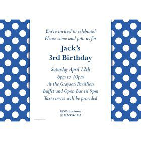 Blue Dots Personalized Invitation (Each)