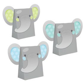 Blue Elephant Birthday Assorted Paper Treat Bags (8)