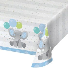 Blue Elephant Birthday Paper Table Cover