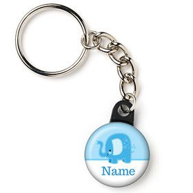"Blue Elephant Personalized 1"" Mini Key Chain (Each)"