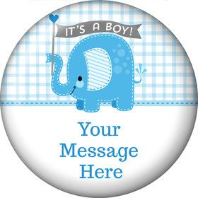 Blue Elephant Personalized Button (Each)