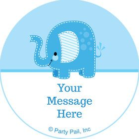 Blue Elephant Personalized Mini Stickers (Sheet of 24)