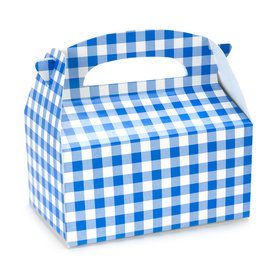 Blue Gingham Empty Favor Boxes
