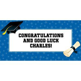 "Blue Graduation Personalized Giant Banner 60x30"" (Each)"