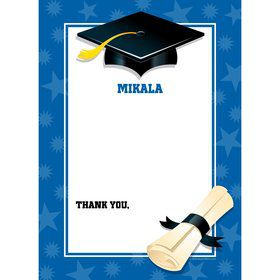 Blue Graduation Personalized Thank You (Each)