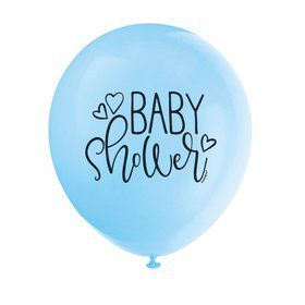"Blue Hearts Baby Shower 12"" Latex Balloons (8)"