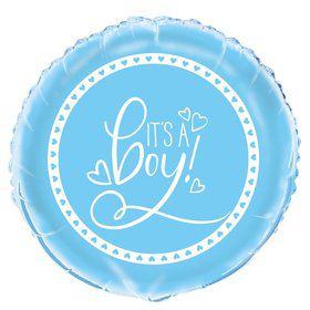 "Blue Hearts Baby Shower 18"" Foil Balloon"