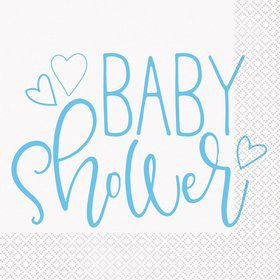 Blue Hearts Baby Shower Lunch Napkin (16)