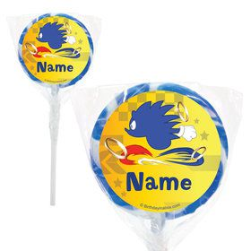 "Blue Hedgehog Personalized 2"" Lollipops (20 Pack)"