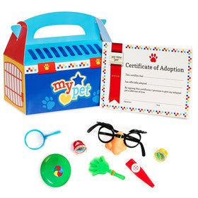 Blue Pet Carrier Favor Boxs With Pinata Toys (For 8 Guests)