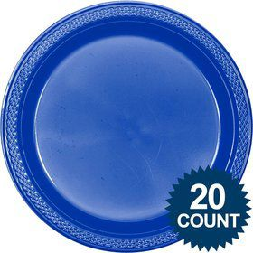 Classic Blue Plastic Lunch Plates (20)