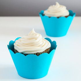 Blue Scalloped Cupcake Wrapper (12)