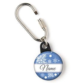 "Blue Snowflake Personalized 1"" Carabiner (Each)"