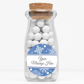 "Blue Snowflake Personalized 4"" Glass Milk Jars (Set of 12)"