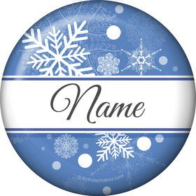 Blue Snowflake Personalized Mini Button (Each)
