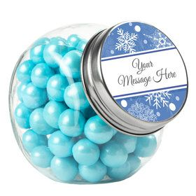 Blue Snowflake Personalized Plain Glass Jars (12 Count)