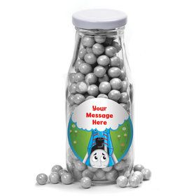Blue Tank Engine Personalized Glass Milk Bottles (12 Count)