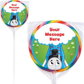Blue Tank Engine Personalized Lollipops (12 Pack)