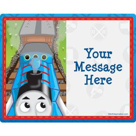 Blue Tank Engine Personalized Rectangular Stickers (Sheet of 15)