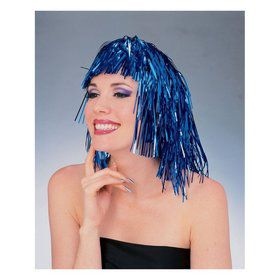 Blue Tinsel Wig