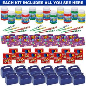 Blue Treat Box Party Favor Kit (For 12 Guests)
