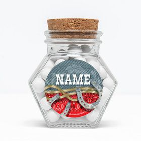 """Blue Western Personalized 3"""" Glass Hexagon Jars (Set of 12)"""
