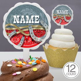 Blue Western Personalized Cupcake Picks (12 Count)