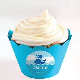 Blue Whale Personalized Cupcake Wrappers (Set of 24)