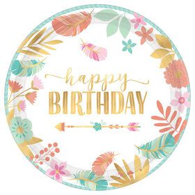 "Boho Birthday Girl 10.5"" Plate (8)"
