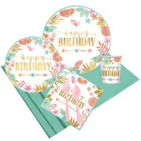Boho Birthday Girl Party Pack for 8