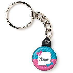"Bow or Bowtie Gender Reveal Personalized 1"" Mini Key Chain (Each)"