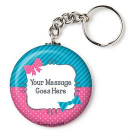 "Bow or Bowtie Gender Reveal Personalized 2.25"" Key Chain (Each)"