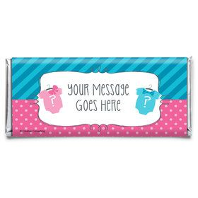 Bow or Bowtie Gender Reveal Personalized Candy Bar Wrapper (Each)