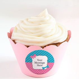 Bow or Bowtie Gender Reveal Personalized Cupcake Wrappers (Set of 24)
