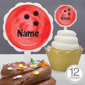 Bowling Personalized Cupcake Picks (12 Count)