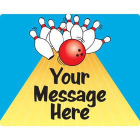 Bowling Personalized Rectangular Stickers (Sheet of 15)
